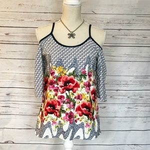 yoyo 5 Tops - 3 for $30 • Navy and Floral Cold Shoulder Blouse